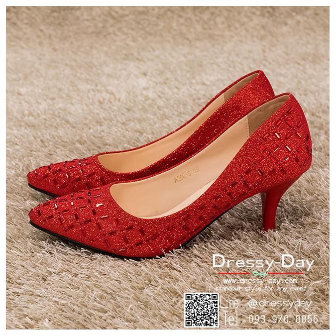รหัส รองเท้าไปงาน : RR005 รองเท้าเจ้าสาวสีเเดง พร้อมส่ง ตกแต่งกริตเตอร์ สวยสง่าดูดีแบบเจ้าหญิง ใส่เป็นรองเท้าคู่กับชุดเจ้าสาว ชุดแต่งงาน ชุดงานหมั้น หรือ ใส่เป็นรองเท้าออกงาน กลางวัน กลางคืน สวยสง่าดูดีมากคะ ราคาถูกกว่าห้างเยอะ