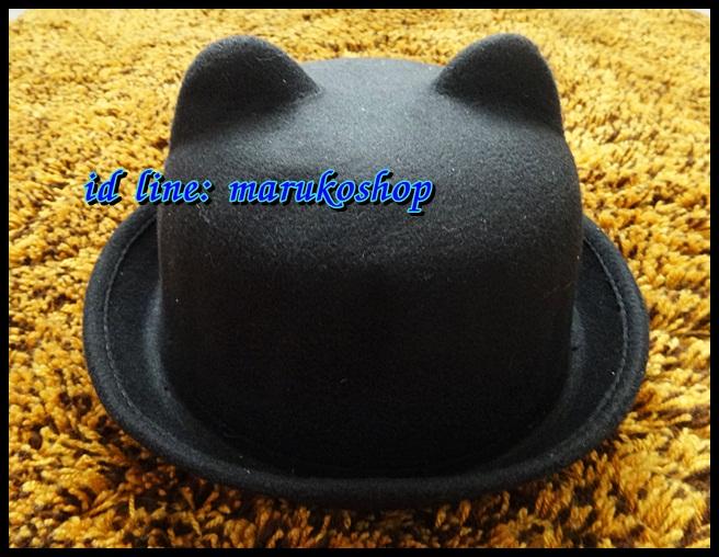 หมวกชาลี หมวกชาลีมีหูสีดำ ผ้าสักหลาด ** รูปถ่่ายจากสินค้าจริงที่ขายค่ะ**