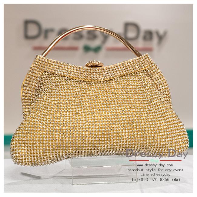 กระเป๋าออกงาน TE004: กระเป๋าออกงานพร้อมส่ง แบบมีหูหิ้ว สีทอง เพชรทั้งใบ สวยหรูที่สุด ราคาถูกกว่าห้าง ถือออกงาน หรือ สะพายออกงาน สวย หรู ดูดีมากค่ะ