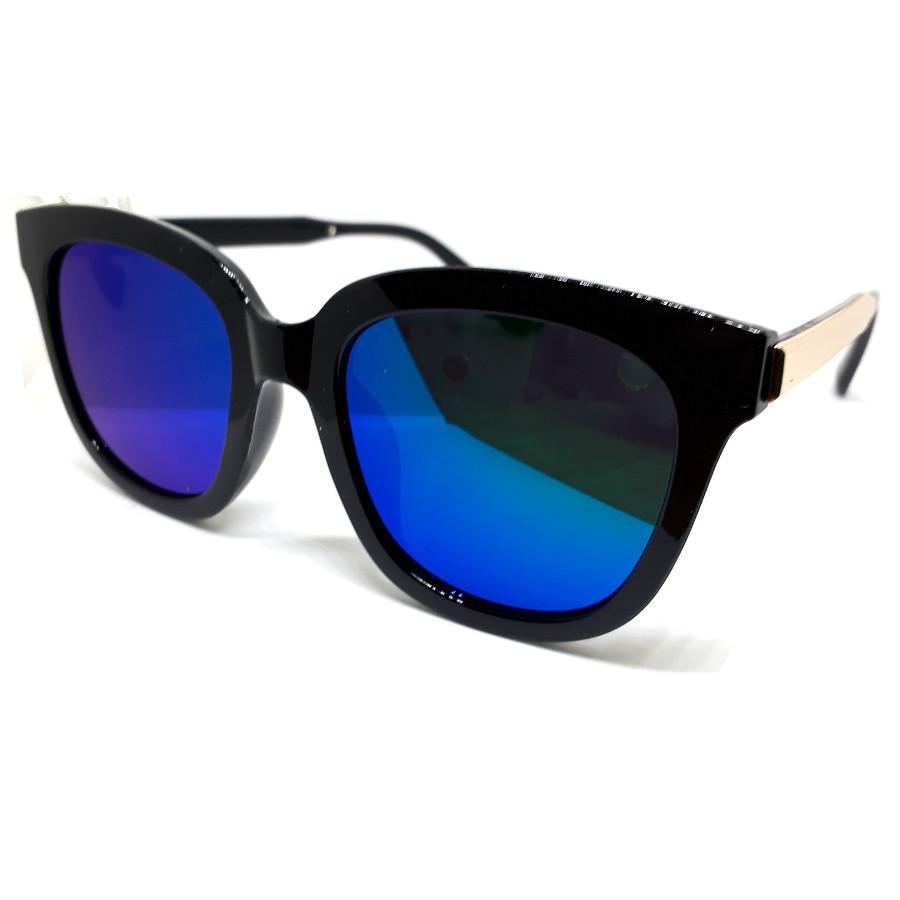 แว่นแฟชั่น วินเทจ แว่นกรอบสีดำ เลนส์น้ำเงิน