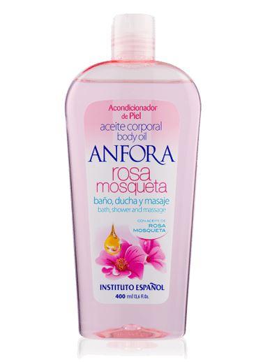 Instituto Espanol Anfora Rosa Mosqueta Body Oil 400 ml. (Rose Hip Oil) บอดี้ออยล์บำรุงผิวจากน้ำมันโรสฮิป กระตุ้นให้มีการสร้างเนื้อเยื่อใหม่และชะลอผิวให้อ่อนวัย ยับยั้งไม่ให้ผิวแก่ก่อนวัย มีความยืดหยุ่น บรรเทารอยแผลเป็นและรอยเหี่ยวย่น ปรับผิวให้เนียนขาวกระ