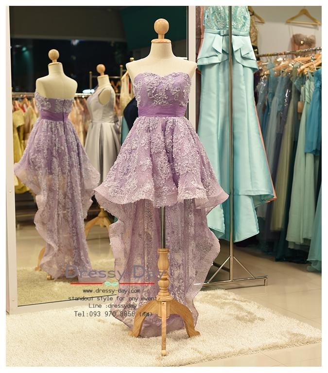 รหัส ชุดราตรียาว : PF013 ชุดราตรียาว เดรสออกงาน ชุดไปงานแต่งงาน ชุดแซก สีม่วง หน้าสั้นหลังยาวสวยๆ หมาะสำหรับงานแต่งงาน งานกลางคืน กาล่าดินเนอร์