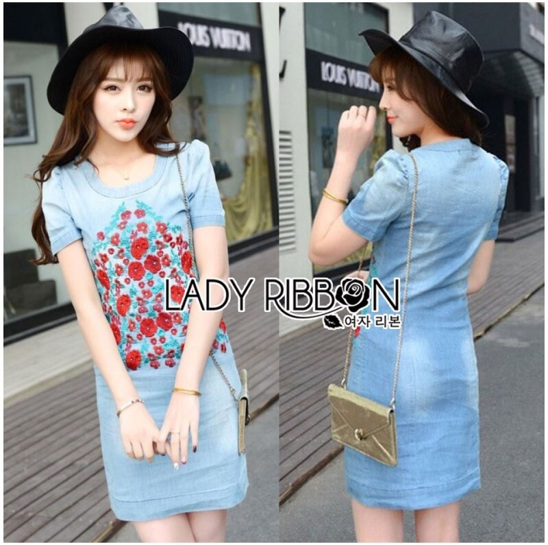 Lady Ribbon's Made Lady Jane Red Rose Embroidered Denim Dress