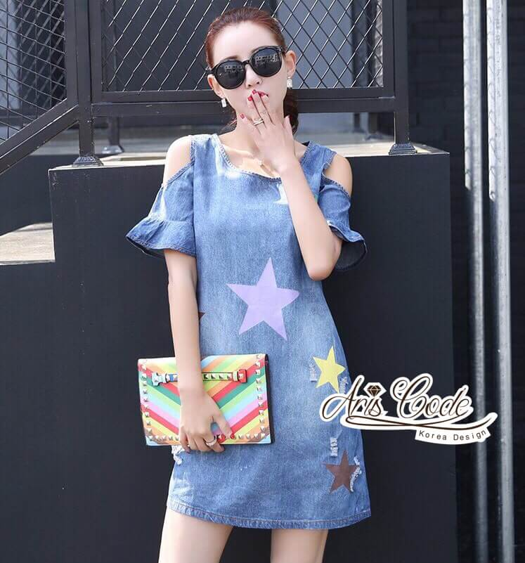 Dress jeans print stars dress Korea by Aris Code