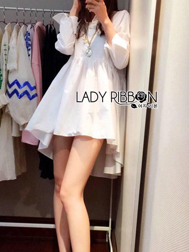 Lady Ribbon's Made Lady Jane Feminine Asymmetric Peplum Cotton Shirt Dress สีขาว