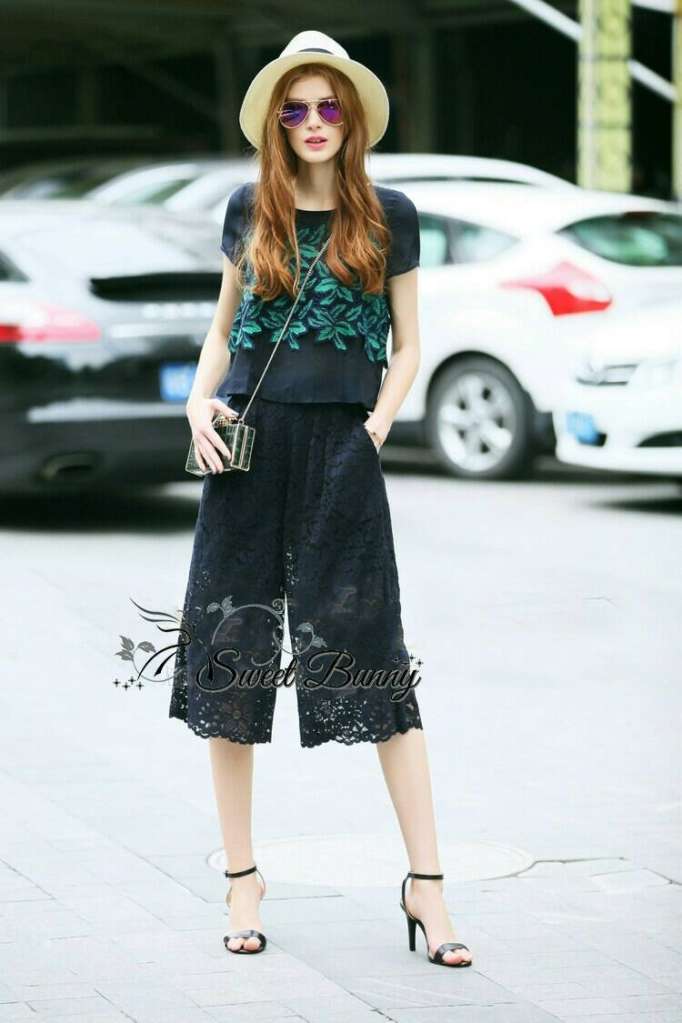 Sweet Bunny Present... Leaves Blue Lace Wide Pants Set