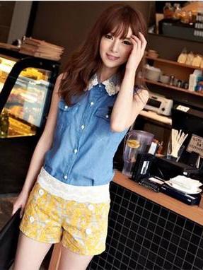 เสื้อแฟชั่น แขนกุด ผ้ายีนส์ คอปกผ้าตาข่าย เสื้อสีน้ำเงิน รหัส 44137-น้ำเงิน