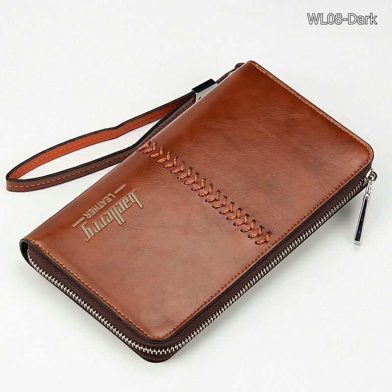 WL08-Dark กระเป๋าสตางค์ใบยาว กระเป๋าสตางค์ผู้ชาย หนัง PU สีน้ำตาลเข้ม