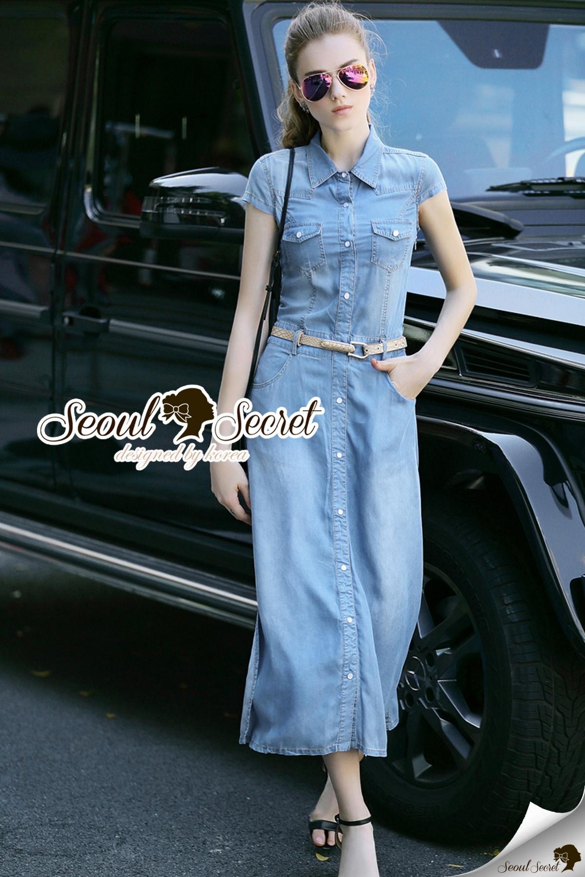 Seoul Secret Say's .... Chill Denim Maxi Shirt Dress