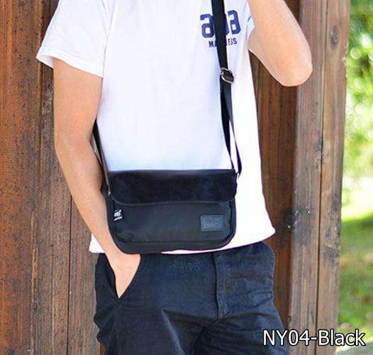 NY04-Black กระเป๋าสะพายข้าง ผ้าไนลอนผสมหนัง สีดำ Three box