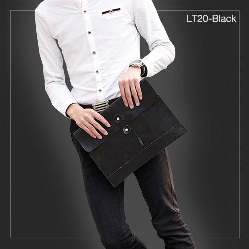 LT20-Black กระเป๋าถือ กระเป๋าคลัช ผู้ชาย A4 หนัง Crazy Horse PU สีดำ