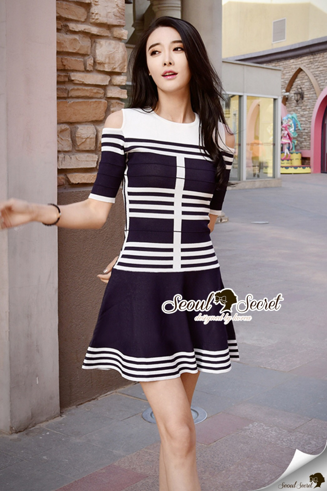 Seoul Secret Say's... Chic Stripy Knitty Dress