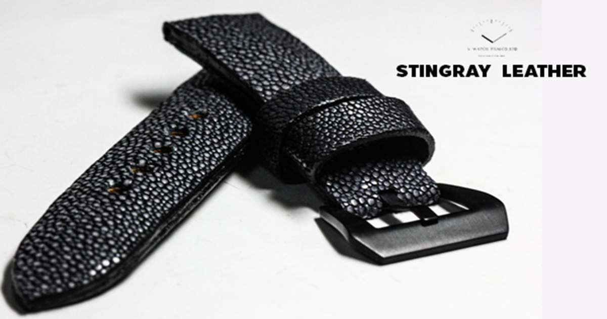 Black Genuine Leather Back Stingray Leather Watch Strap Pam Buckle 24/20 mm