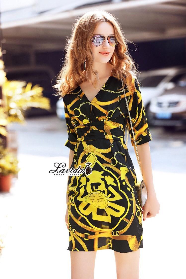 Korea Design By Lavida Noble chain printing pleated waist feminine dress