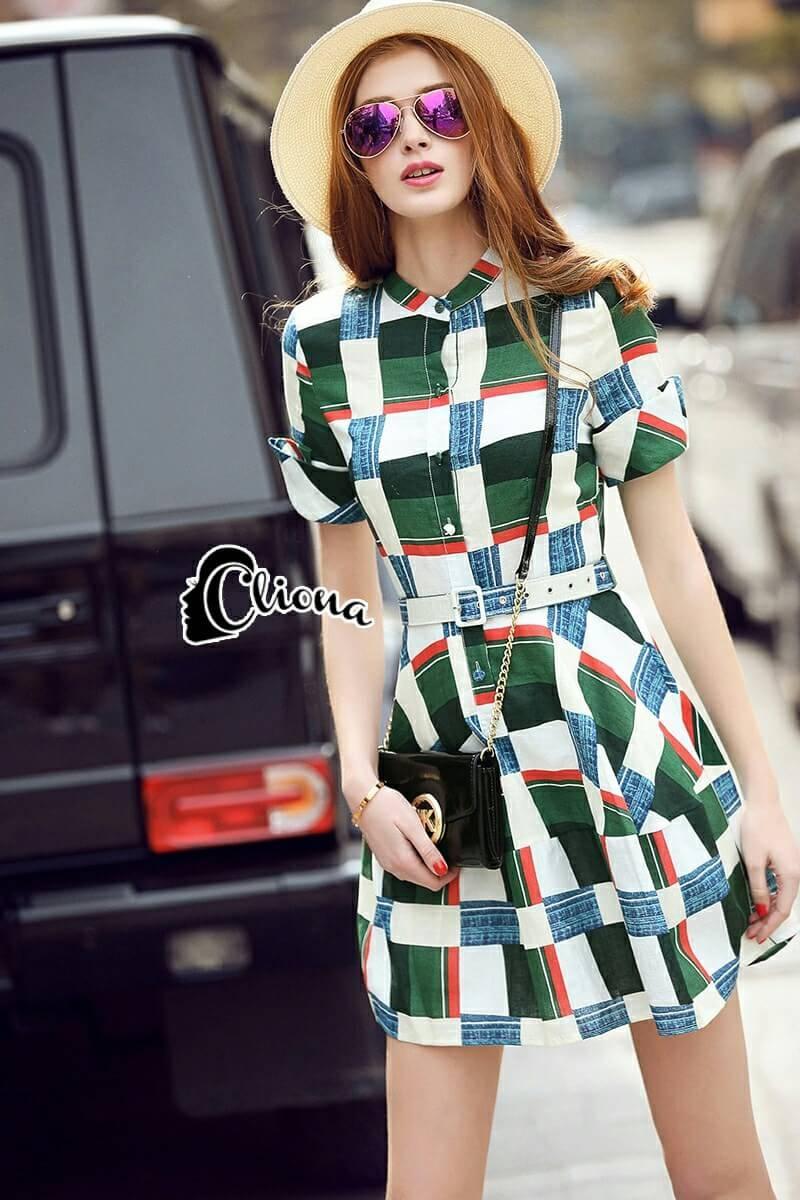 Cliona made' Grammy Square Line Shirt Dress