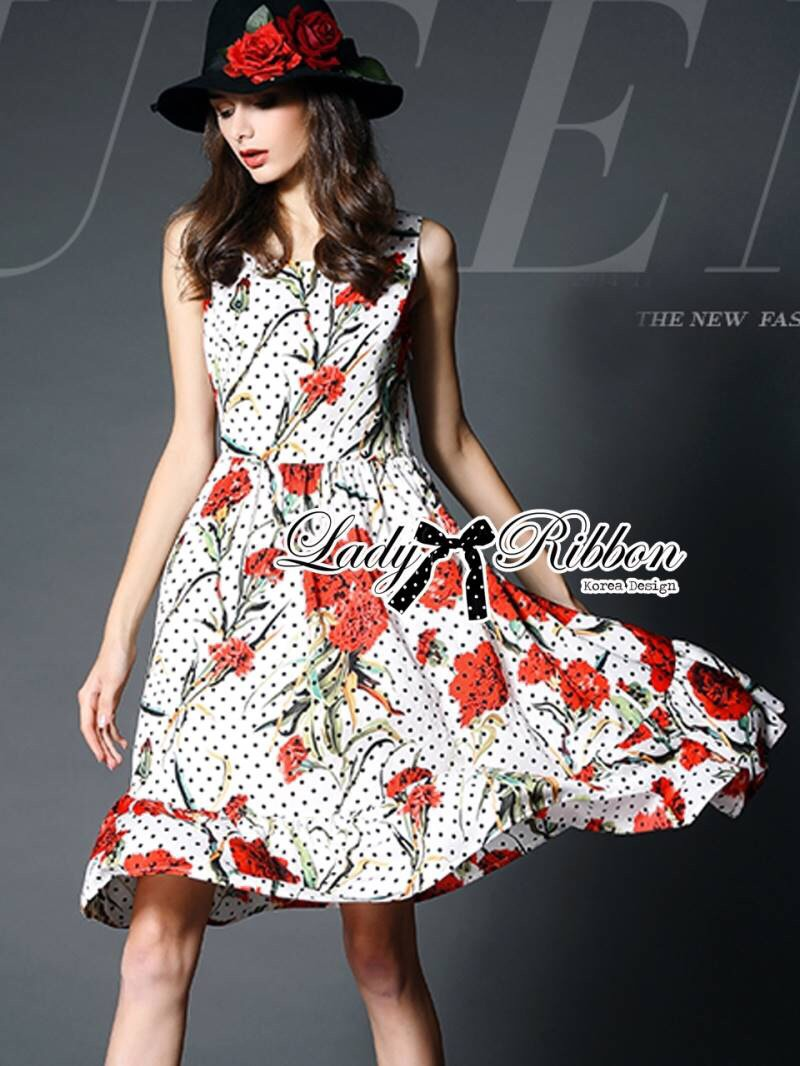Lady Ribbon's Made Lady Lauren Colourful Polka Dots Red Flower Printed Dress