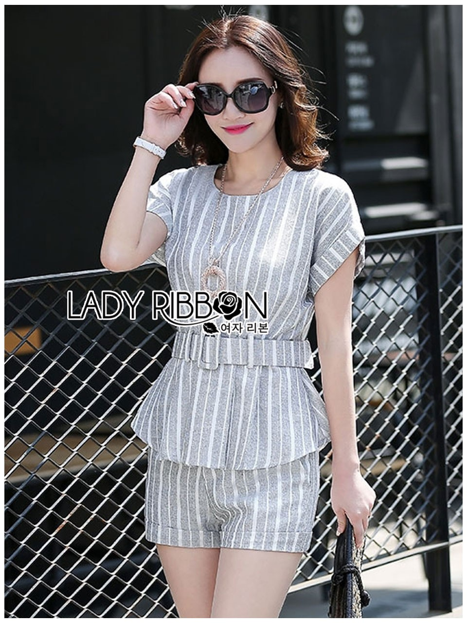 Lady Ribbon's Made Lady Amanda Smart Minimal Belted Top and Shorts Set สีเทาลายทาง