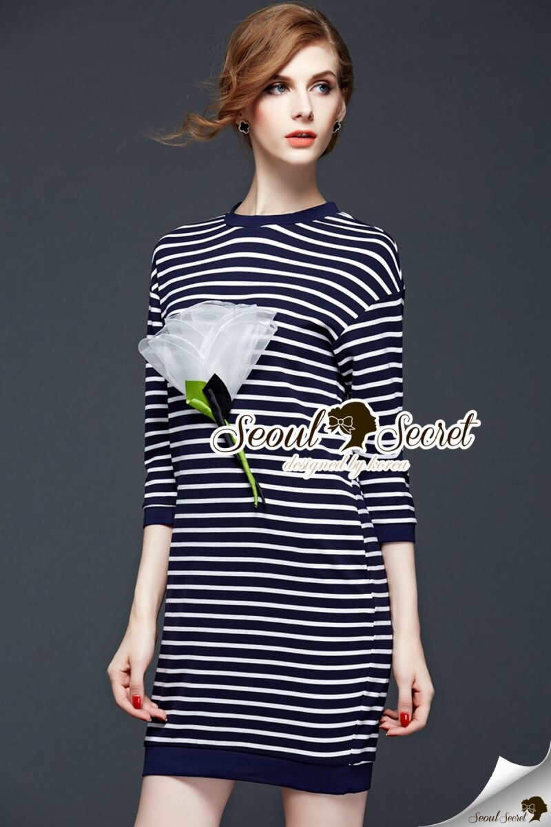 Seoul Secret Say's Whity Flora Stripe Dress