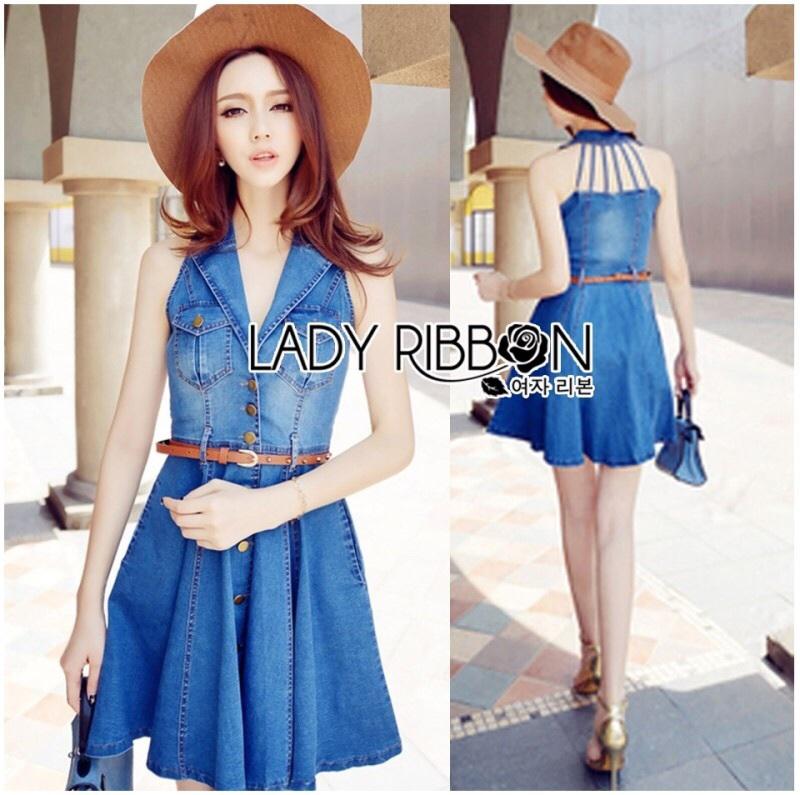 Lady Ribbon's Made Lady Jane Smart Sexy Sleeveless Denim Shirt Dress