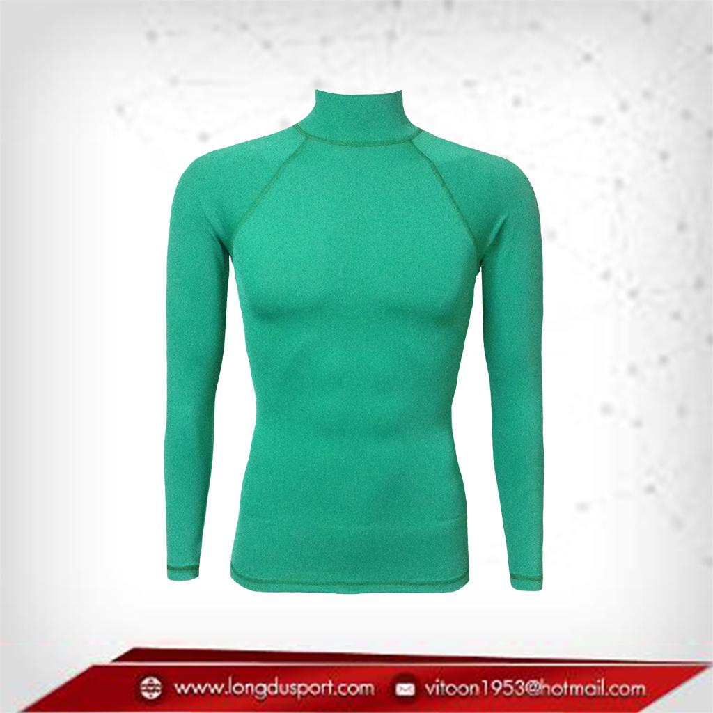 เสื้อรัดกล้ามเนื้อ Rash Guard แขนยาวคอตั้ง สีเขียวเข้ม mediumseagreen