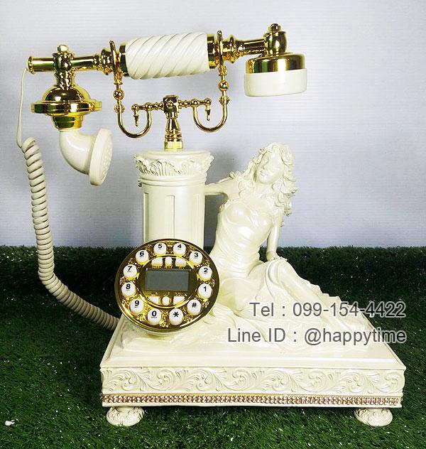 โทรศัพท์เรซิ่น รูปหญิงสาวนั่งข้างเสาโรมัน