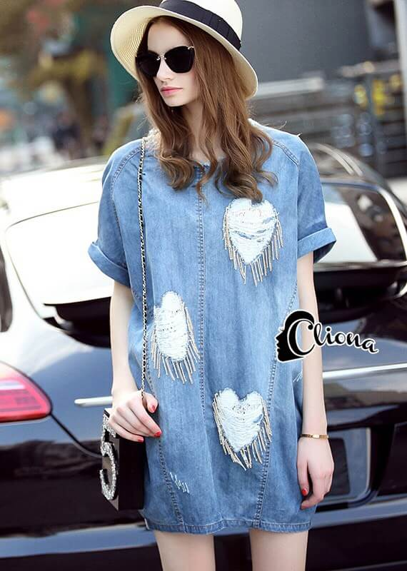 Cliona made' Denim Sweat Heart Luxury Dress