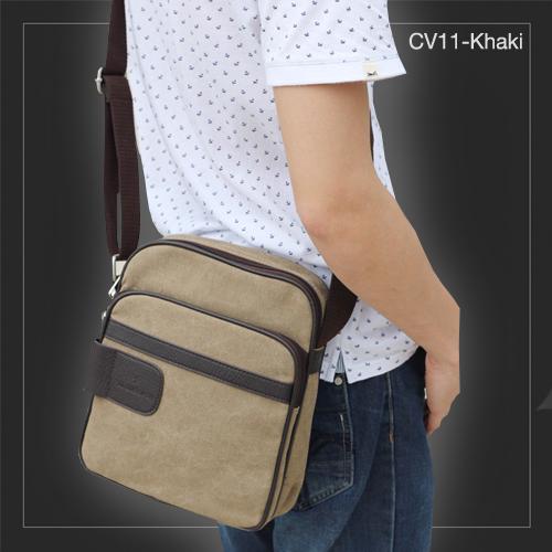CV11-Khaki กระเป๋าสะพายข้าง ผ้าแคนวาส สีกากี
