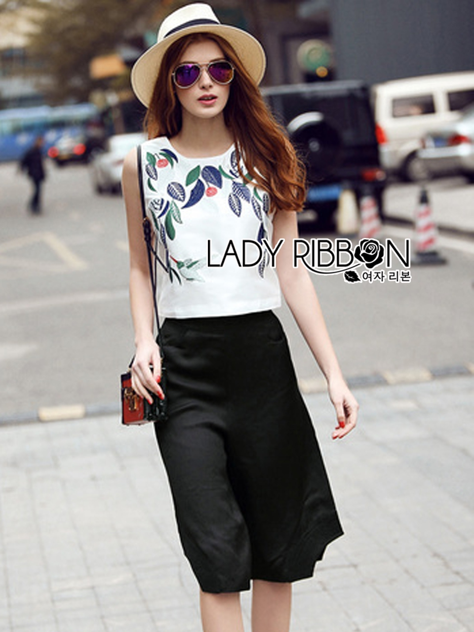 Lady Ribbon's Made Lady Laura Casual Nature Embroidered Cropped Top and Culottes Set