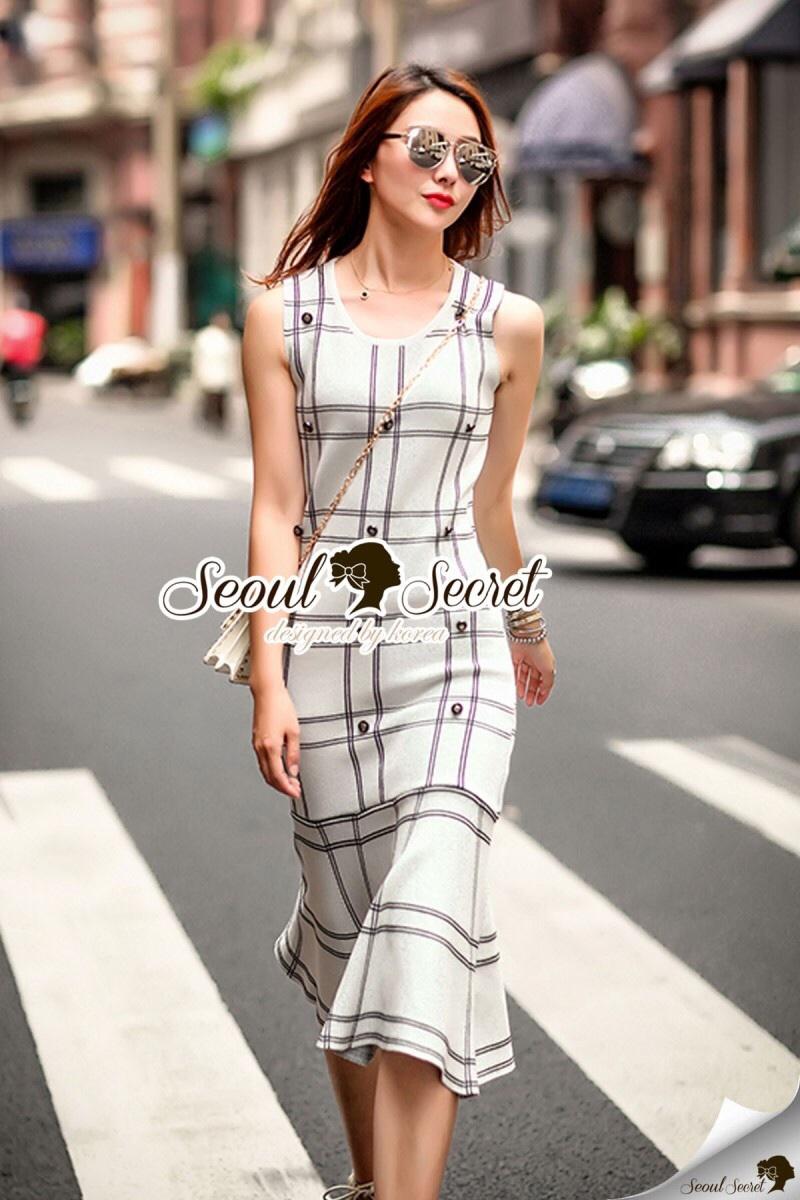 Seoul Secret Say's... Nifty Table Knity Dress สีขาว