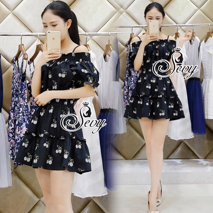 Sevy Cherry Blossom Off Shoulder Elastic Waist Mini Dress