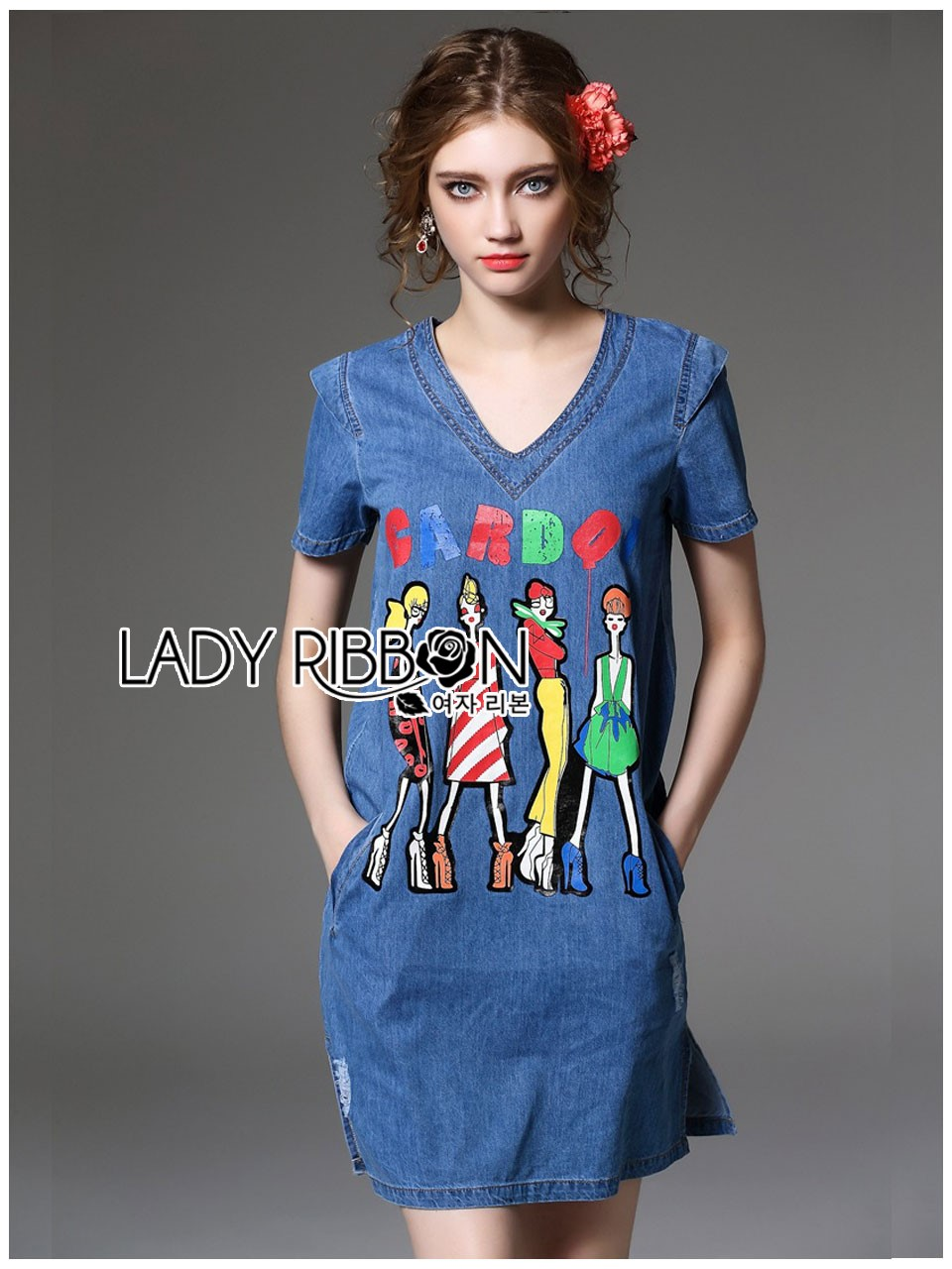 Lady Ribbon's Made Lady Glam Gloria Fun Printed Denim Dress