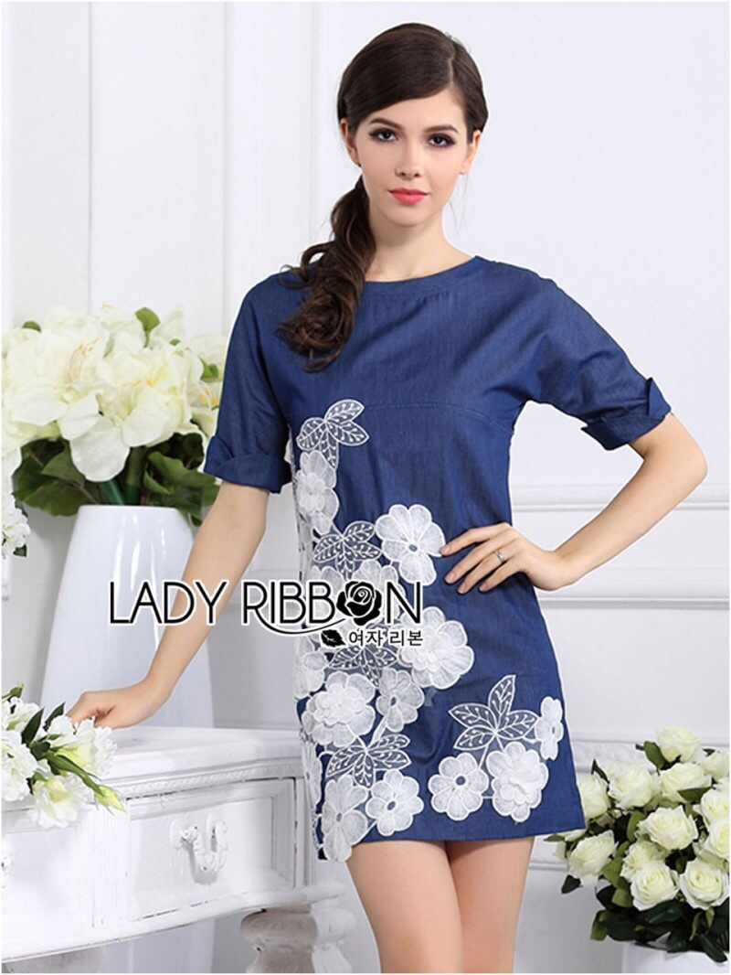 Lady Ribbon's Made Lady Elena Basic Insert Lace Denim Dress