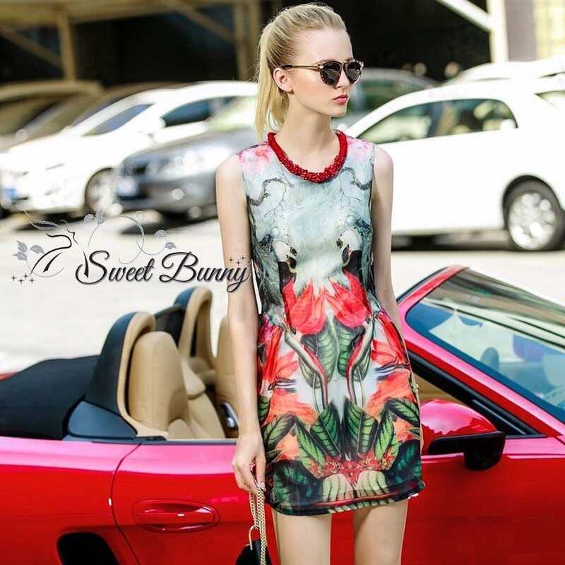 Leaf print dress with necklace set by Sweet Bunny