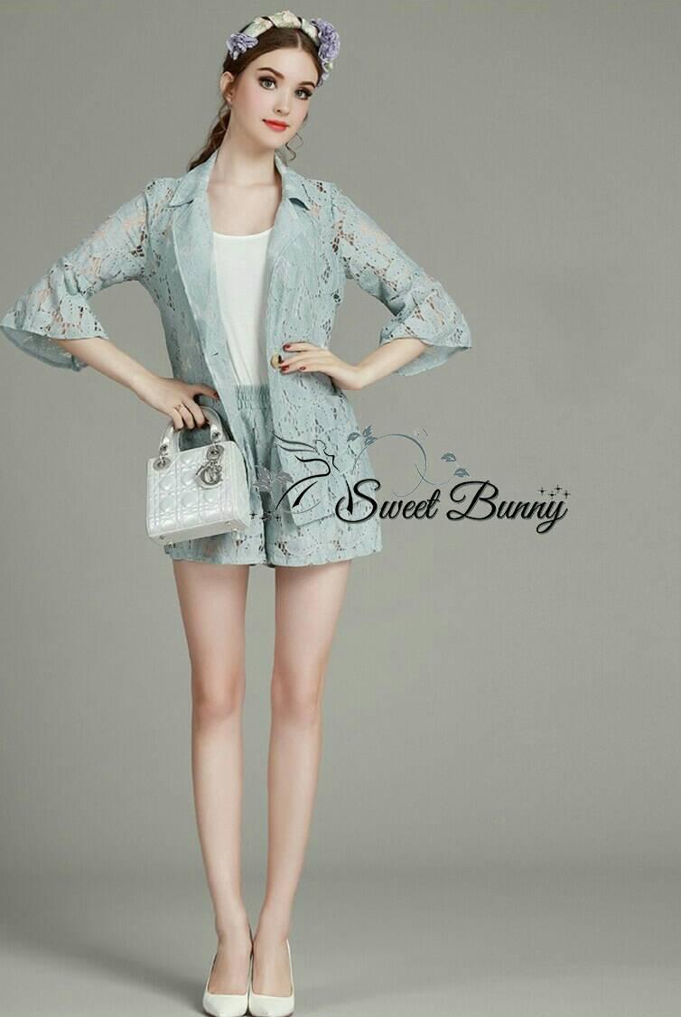 Sweet Bunny Present... Blazer Jacket Lace Shorts Set