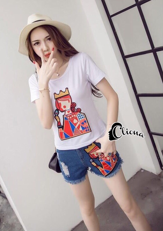 Cliona Made' Poker Queen Luxury Shirt + Denim Short