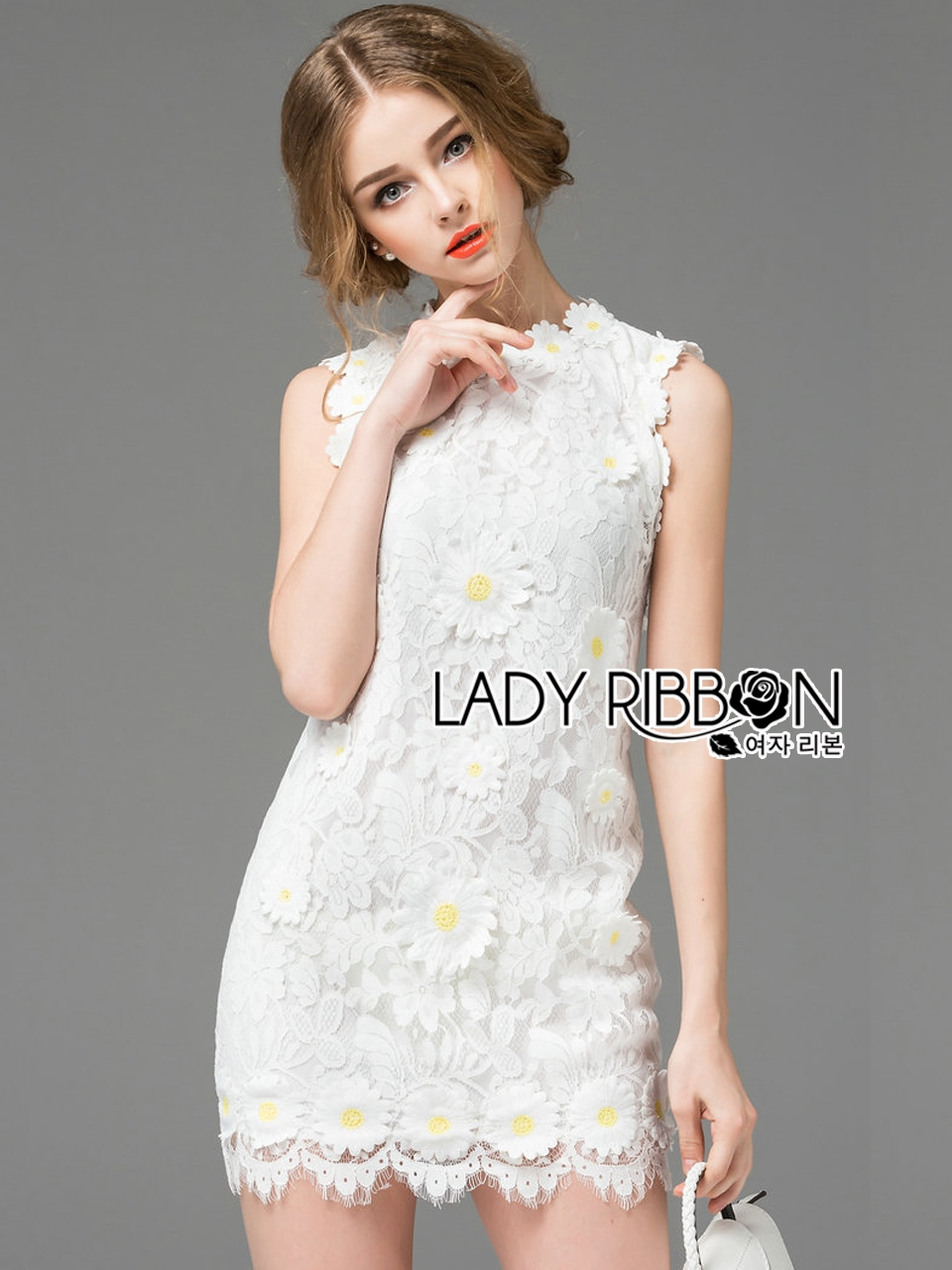 Lady Ribbon's Made Lady Christine Little Daisy Embroidered White Lace Mini Dress