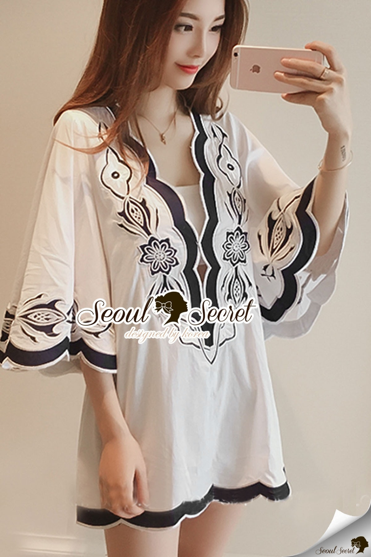 Seoul Secret Say's... Curly Stick Girly Bell Sleeves LOng Blouse