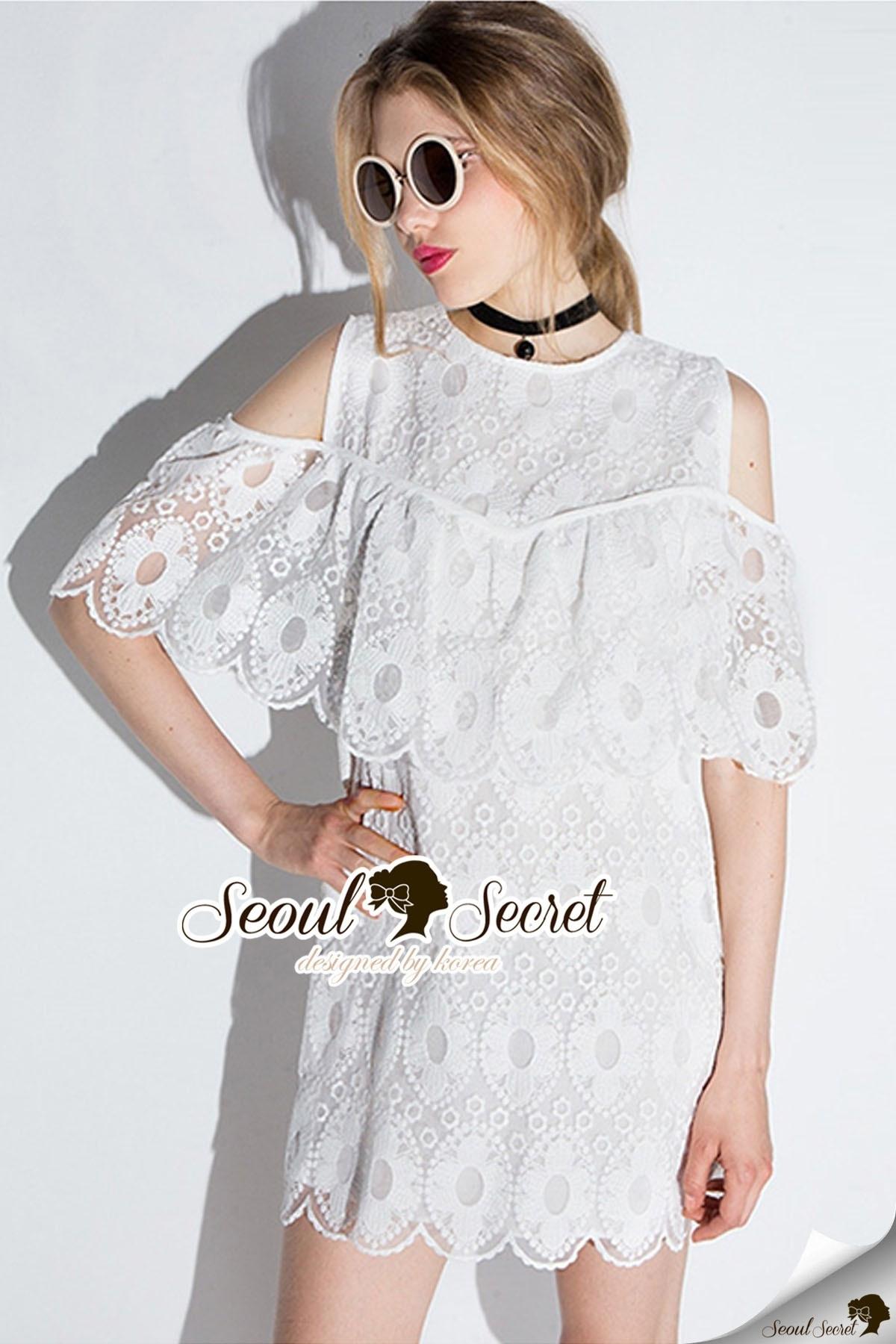 Seoul Secret Say's .... Angella OpenShoulder Curvlu Lace Dress