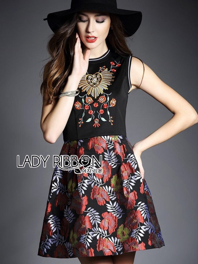 Lady Ribbon's Made Lady Modern Hippie Floral Embroidered and Printed Dress