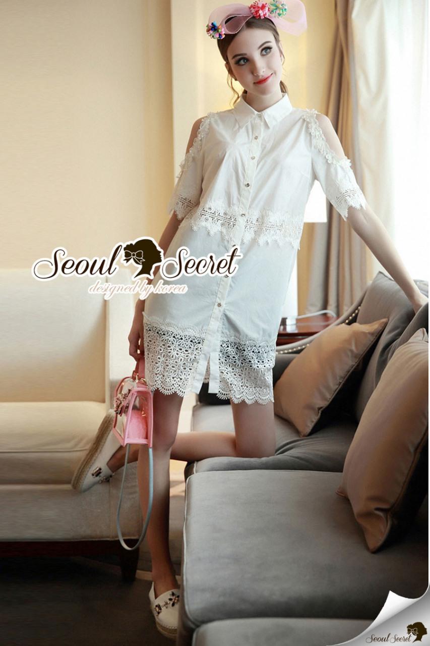 Seoul Secret Say's... Open Shiulder Lace Furnish Shirt Dress