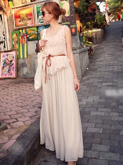 ชุดเดรสยาว ผ้าชีฟอง รหัส1856264