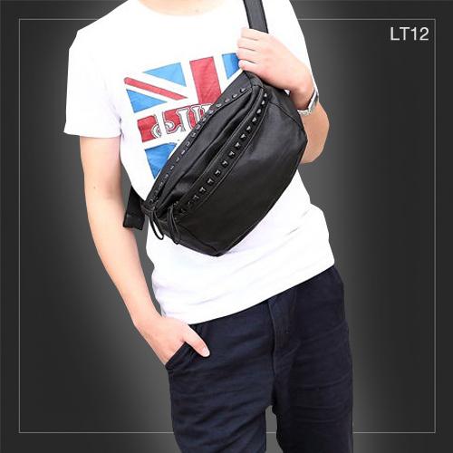 LT12 กระเป๋าคาดอก กระเป๋าคาดเอว หนัง PU สีดำ