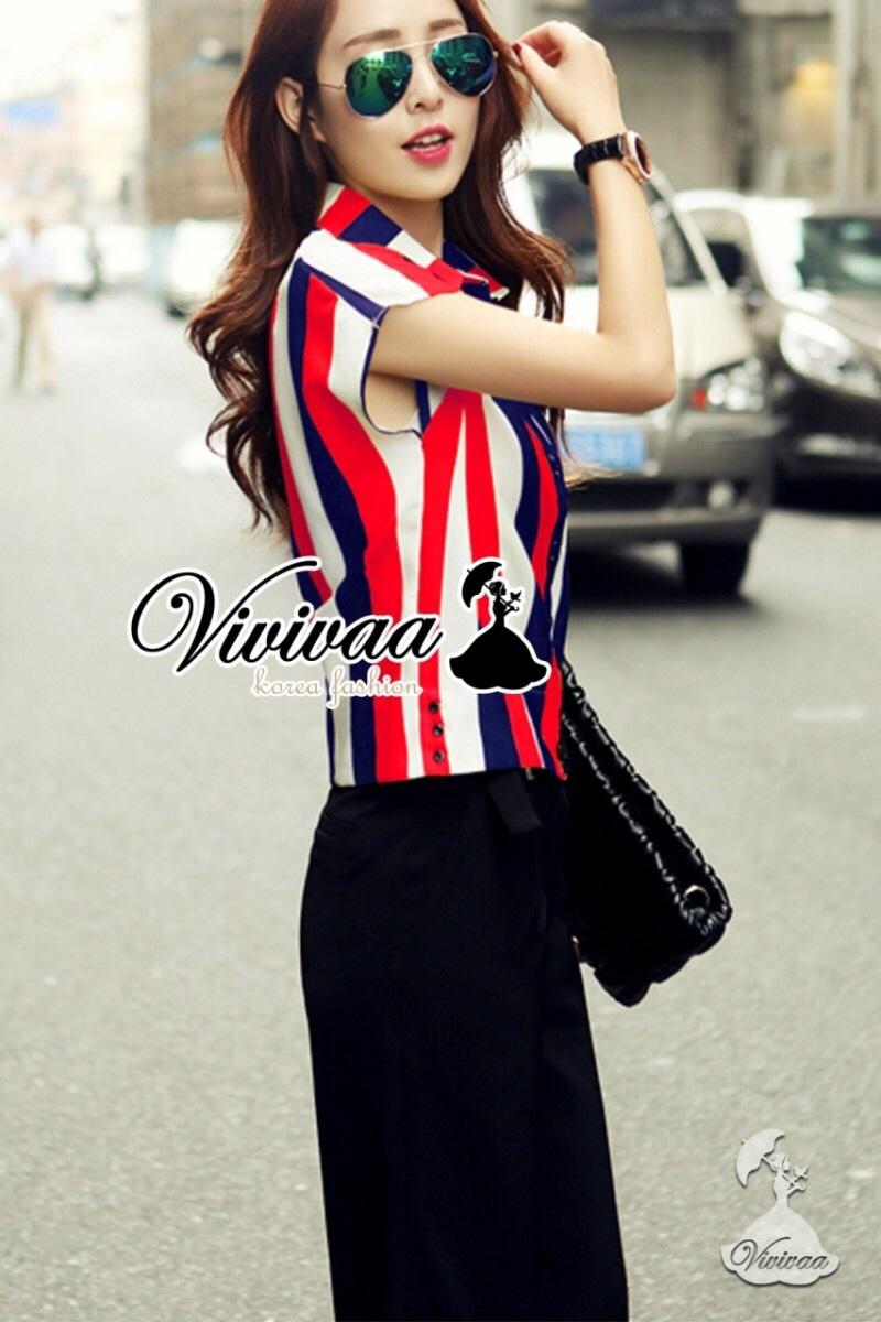 "Vivivaa recommend ""Diverse stripy chill set"" สีแดง"