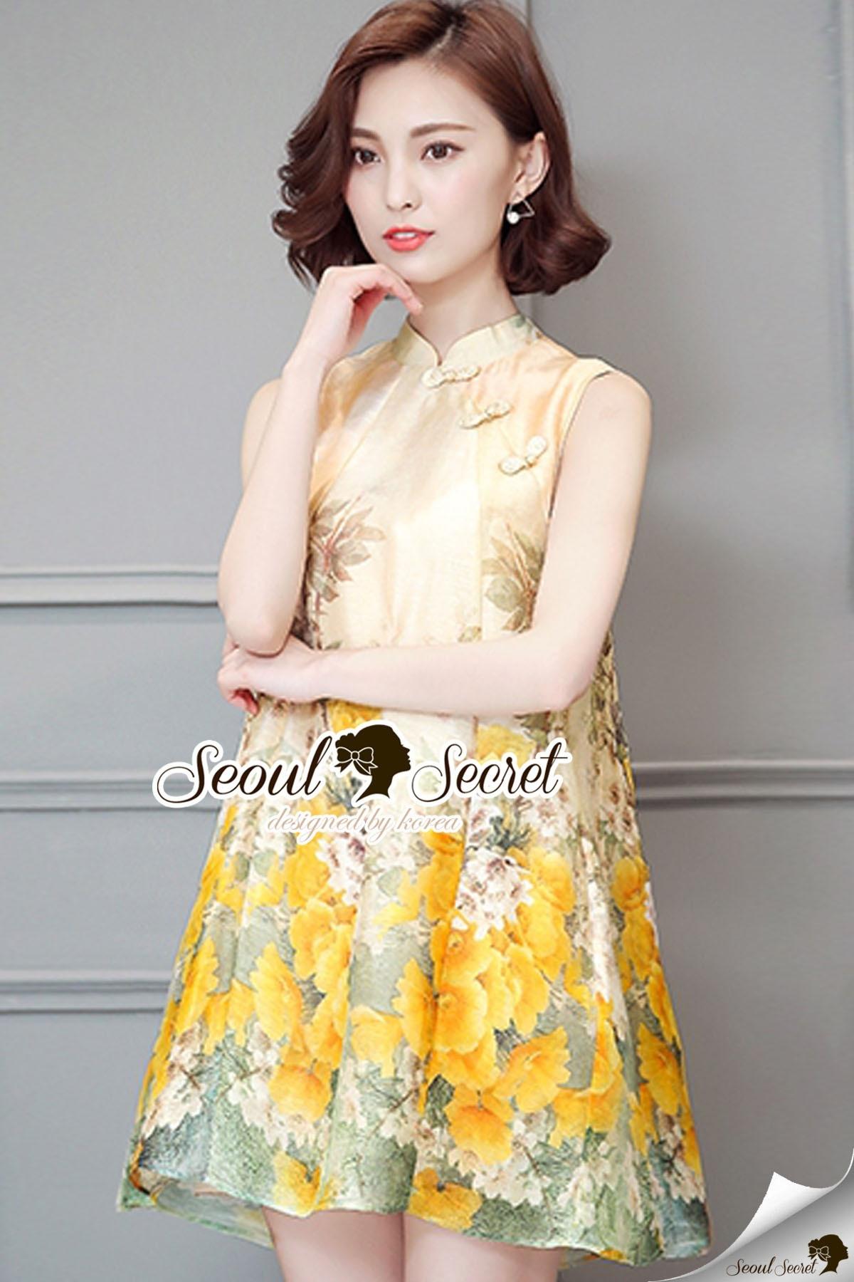 Seoul Secret Say's... Yellow Flora Girly Silkly Dress