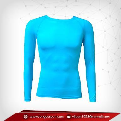 เสื้อรัดกล้ามเนื้อ แขนยาวคอกลม สีฟ้าอ่อน dodgerblue
