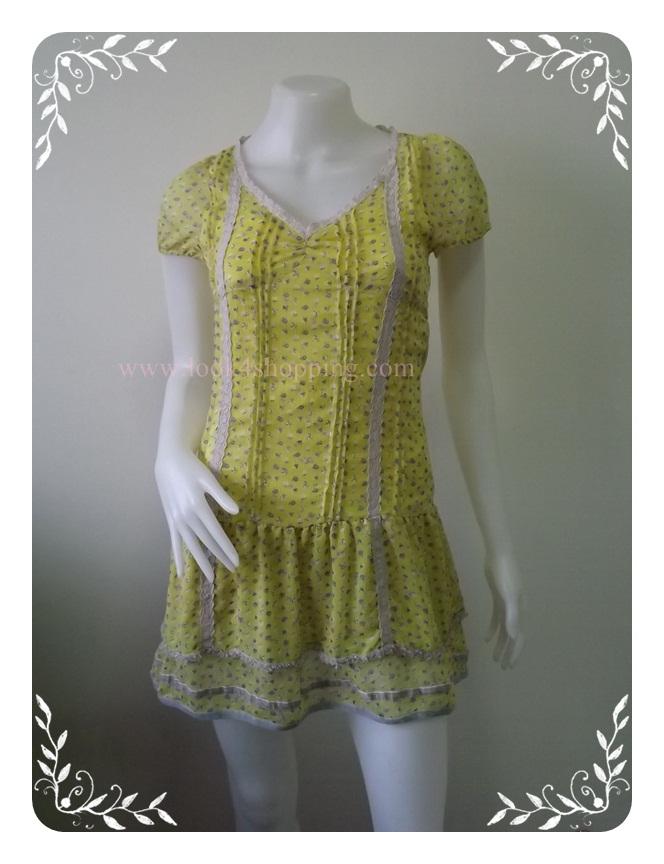 """Dress0517--เดรสสั้น ชีฟอง สีเหลือง """"อก 30-32 นิ้ว"""""""