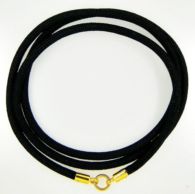สร้อยเชือกร่มนอกข้อทองคำแท้ขัดเงา สำหรับแขวนพระ 1 องค์ + ข้อทองขนาด 4.0 มิล