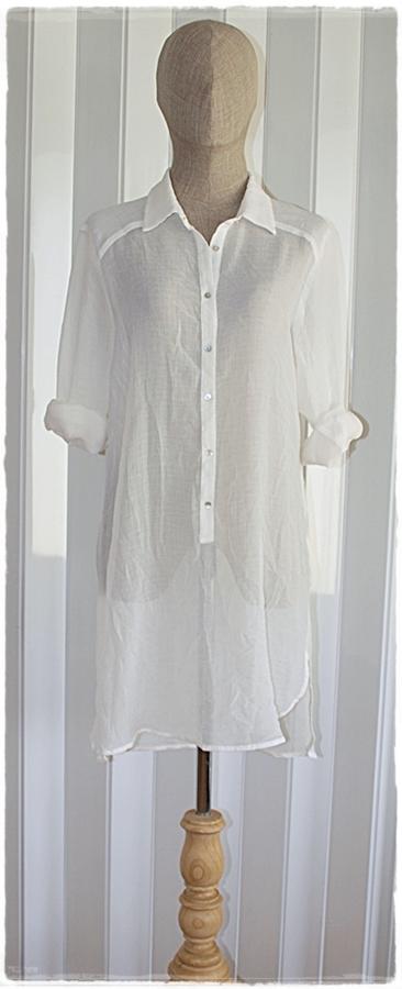 Zara เสื้อเชิ้ต ผ้าชีฟอง ตัวยาว สีขาว