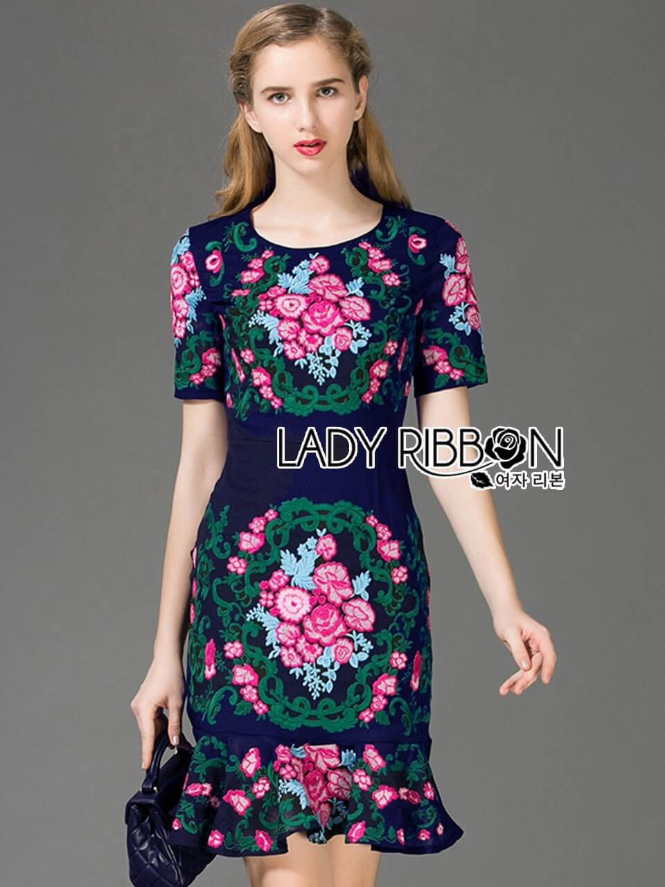 &#x1F380 Lady Ribbon's Made &#x1F380 Lady Daphne Colourful Flower Embroidered Ruffle Silk Dress