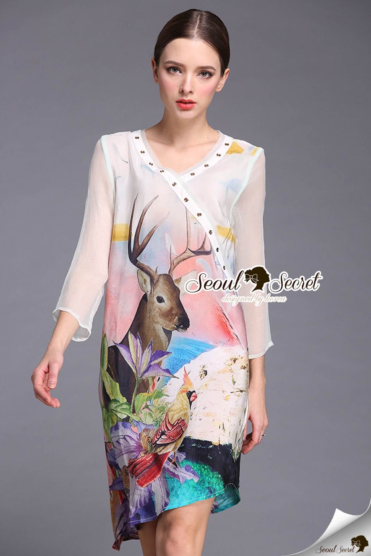 Seoul Secret Say's... Deerly Sakura Print Dofty Shiffon Dress